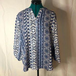 SAMI & JO • blouse • floral blue white • like new